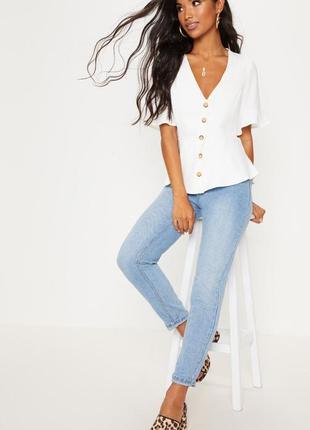 Топ блуза рубашка  кофточка кофта размер 14/xxl короткий  рукав prettylittlething