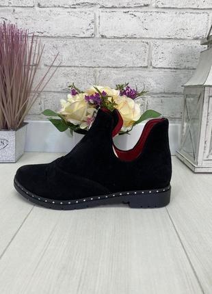 Ботинки, ботильоны, туфли черные на низком ходу натуральная замша или кожа