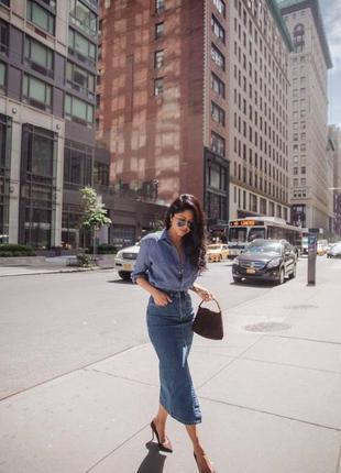 🌿 бомбезная, стрейчевая, джинсовая юбка карандаш от river island