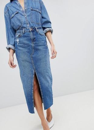 🌿 бомбезная джинсовая юбка карандаш от river island