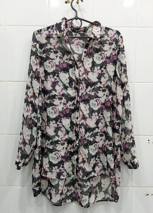 Нежная шифоновая рубашка блузка с удлиненной спинкой в розы
