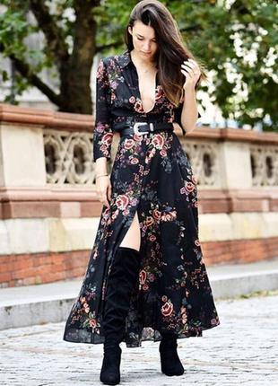 Платье-рубашка макси длина zara, летящее длинное платье, платье zara