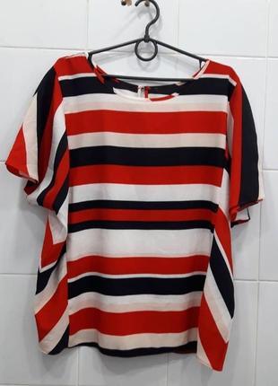 Стильная яркая шифоновая футболка в полоску