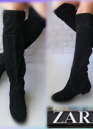 39р замша zara ботфорты замшевые черные высокие сапоги