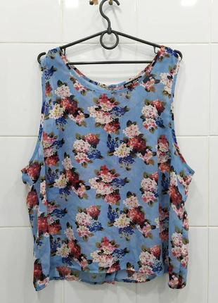 Красивая шифоновая блуза в цветочный принт сзади на пуговках