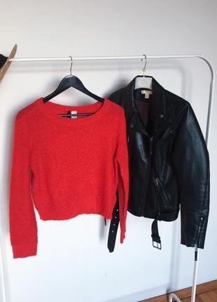 Красный короткий свитер джемпер h&m. р-р м