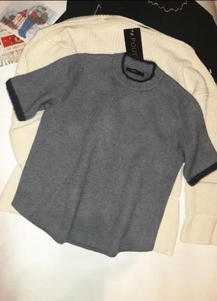 🖤❤zara благородный джемпер свитер с коротким рукавом