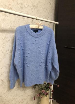 Объемный нежно голубой свитер f&f!
