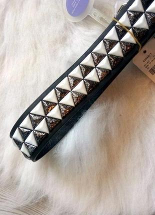 Черный пояс ремень широкий белые серебряные клепки кожзам железная пряжка фурнитура