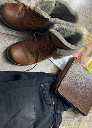Коричневые зимние кожаные ботинки
