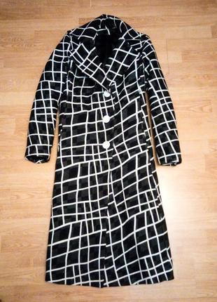 Пальто чёрное белое клетчатое демисезонное длинное прямое оверсайз