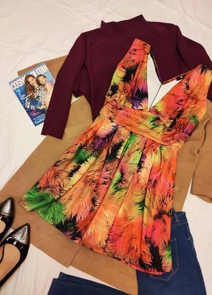 Платье оранжевое цветочное зелёное красное фиолетовое миди большое батал koko by koko