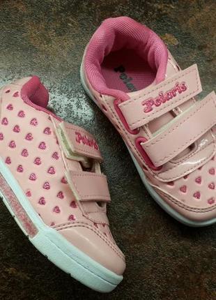 Розовые кеды, мокасины, кроссовки  polaris для девочки