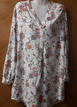 Gp&baker × h & m 100% вискоза   блуза  рубашка  туника  с красивым рисунком