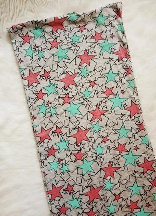 Длинный хомут хлопок цветной шарф серый цветными звездочками широкий тканевый
