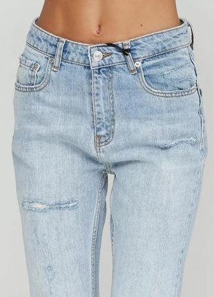 Голубые джинсы zara с высокой посадкой
