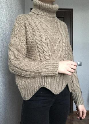 Свитер светр zaful бежевий бежевый пуловер женский джемпер висока высокая горловина