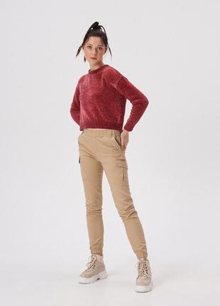 Новый укороченный велюровый свитер