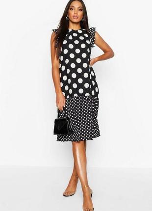 Boohoo. красивое платье миди в горох .uk 8 на наш 48 новое.
