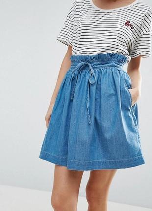 Стильная джинсовая юбка высокая талия с карманами 100% лиоцелл размера s