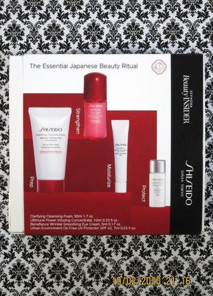 Антивозрастной набор shiseido (япония) - 4 ср.,в т.ч. сыворотка против морщин под глазами