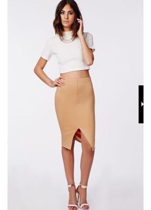 Новая стрейчевая юбка карандаш с разрезом спереди цвета кэмэл размера xs