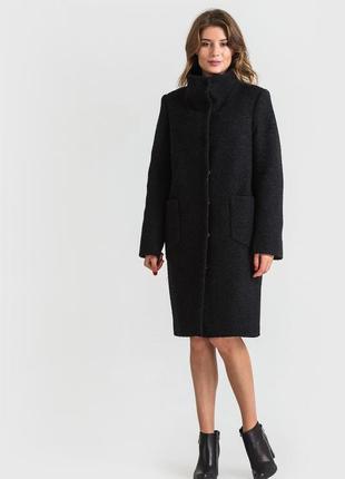 Брендовое черное фактурное демисезонное пальто с карманами south коттон вискоза