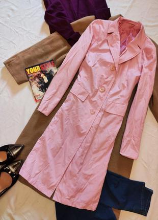 Тренч плащ прямой розовый с карманами миди коттон хлопок in linea