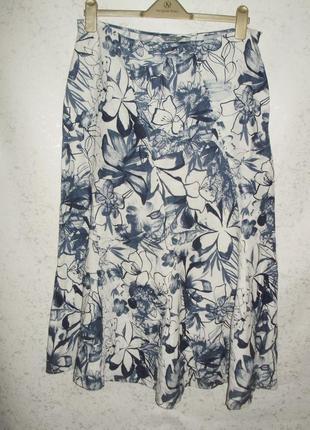 Новая красивая льняная юбка цветочный принт 100%лён размера l