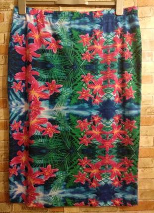 Красивая юбка карандаш в принт для беременных 16/50-52 размера