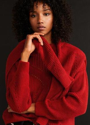 Красный велюровый объемный свитер jacqueline de yong