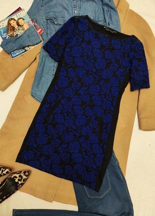 Платье чёрное синее цветочный принт с карманами дороти перкинс