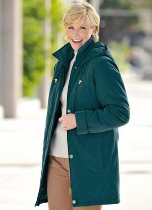 Бирюзовая демисезонная утепленная куртка парка с капюшоном и карманами bm синтепон