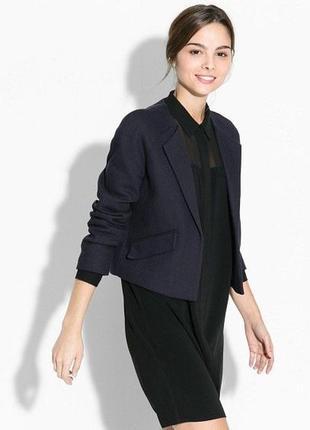 Брендовый темно-синий коттоновый пиджак жакет блейзер с карманами mango марокко этикетка
