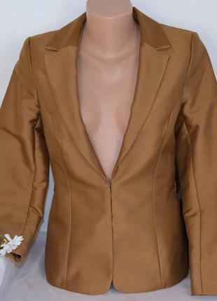 Брендовый коричневый коттоновый пиджак жакет блейзер h&m