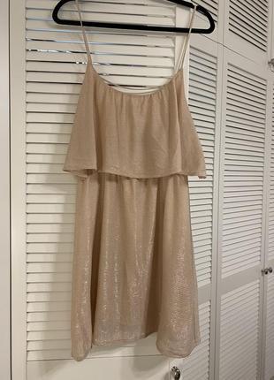 Блестящее нюд платье на тонких бретелях h&m premium