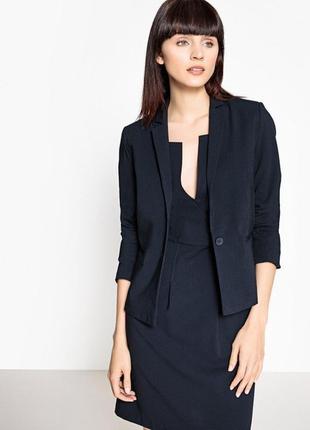 Брендовый темно-синий шерстяной пиджак жакет блейзер h&m recycled wool