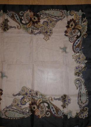 Красивый лёгкий воздушный платок avene тонкий шёлк 80х80см индия