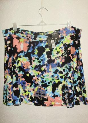 Новая яркая юбка-солнце акварельный рисунок на молнии 20/54-56 размера
