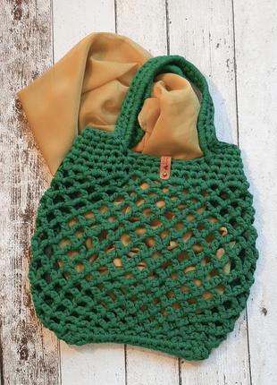 Эко-сумка, авоська ручной работы, цвет бильярд