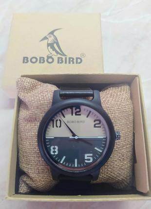 Новые стильные мужские часы bobo bird на черном ремешке