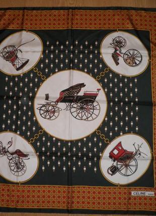 Красивый винтажный коллекционный платок celine paris саржевый шелк 88х86см шов роуль