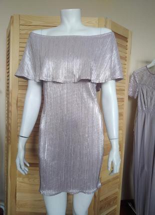 Платье блестящее с открытыми плечами missguided