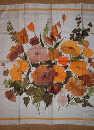 Платок шарф плотный саржевый шёлк christian dior цветочный 78х78см шов роуль