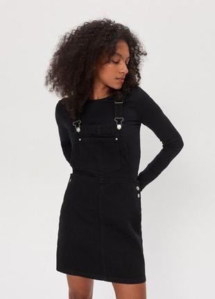 Новый женский джинсовый чёрный комбинезон юбка house