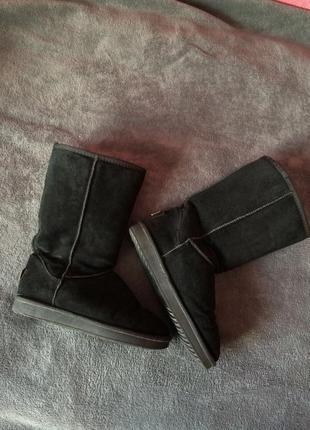 Натуральные замшевые угги ботинки зимние