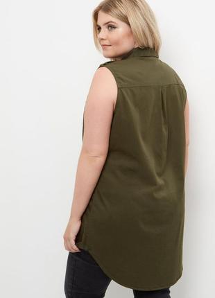 Рубаха,безрукавка,жилет,блуза,туника большущего30/58размера,хлопок,хаки