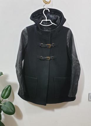 Пальто с кожаными рукавами  maje