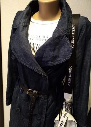 Шикарный джинсовый плащ тренч синий