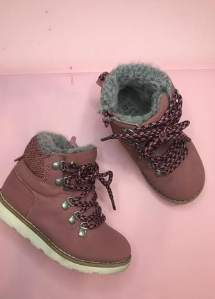 Кожаные ботинки на меху zara 24 р